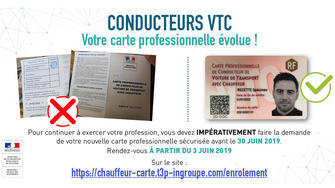 cartes professionnelles de conducteur de VTC