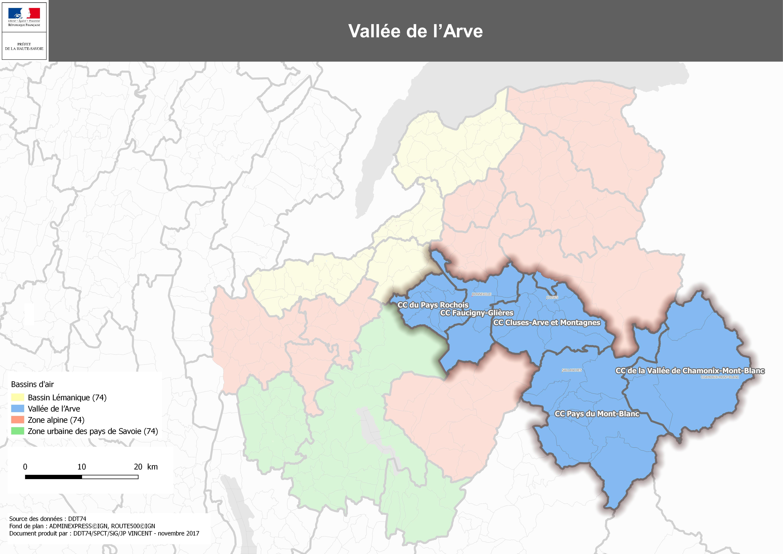 vallée de l arve carte Vallée de l'Arve / Modalités de gestion des épisodes de pollution